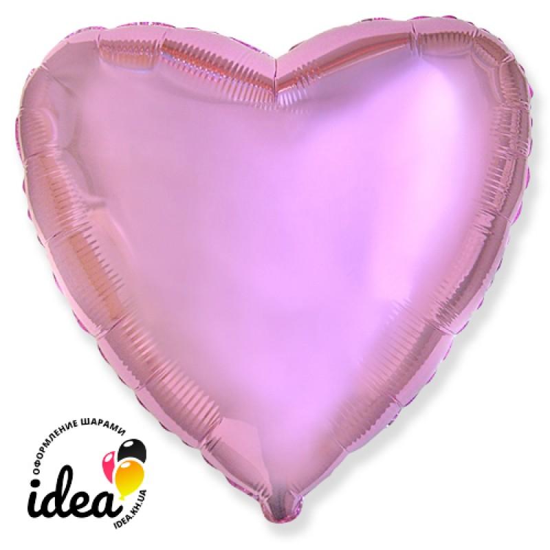 Шар с гелием сердце металлик розовое 45см
