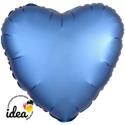 Шар с гелием сердце (сатин) голубое 45см