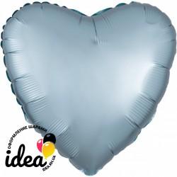 Шар с гелием сердце (сатин) светло голубое 45см