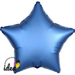 Шар с гелием звезда (сатин) голубая 45см