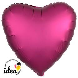 Шар с гелием сердце (сатин) бургундий 45см