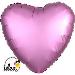 Шар с гелием сердце (сатин) фламинго 45см