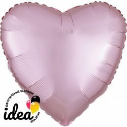 Шар с гелием сердце (сатин) светло розовое 45см