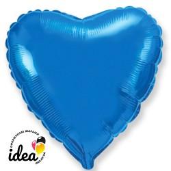 Шар с гелием сердце синее 45см