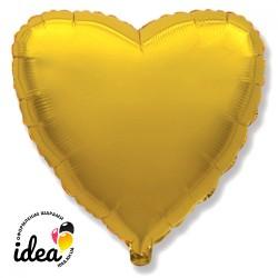 Шар с гелием сердце золотое 45см