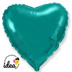 Шар с гелием сердце бирюзовое 45см