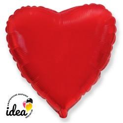 Шар с гелием сердце красное 45см