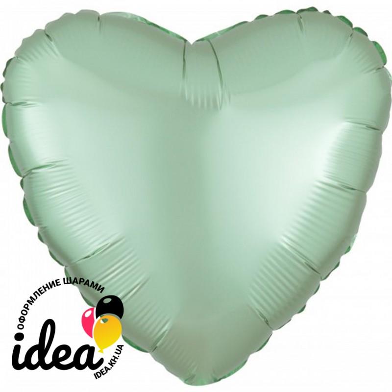 Шар с гелием сердце (сатин) мятное 45см
