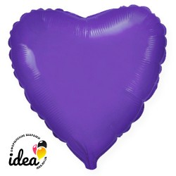 Шар с гелием сердце фиолетовое 45см