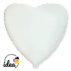 Шар с гелием сердце белое 45см