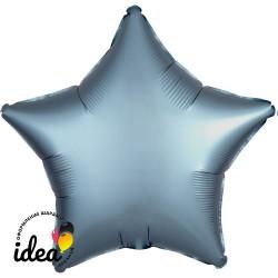 Шар с гелием звезда (сатин) синяя сталь 45см