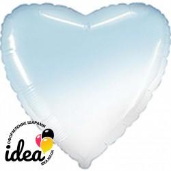 Шар с гелием сердце омбре бело-голубое 45см