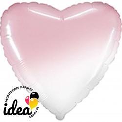 Шар с гелием сердце омбре бело-розовое 45см
