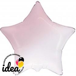 Шар с гелием звезда омбре бело-розовая 45см