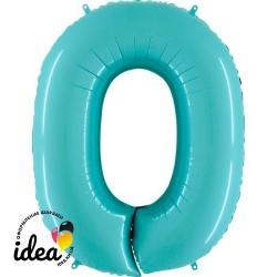 Шар «0» с гелием аквамарин 100см