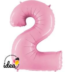 Шар «2» с гелием розовый 100см
