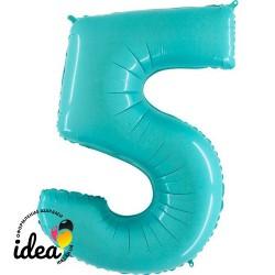 Шар «5» с гелием аквамарин 100см
