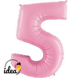 Шар «5» с гелием розовый 100см
