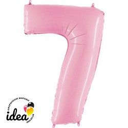 Шар «7» с гелием розовый 100см