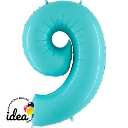 Шар «9» с гелием аквамарин 100см