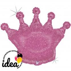 Шар с гелием Корона розовая голография 75см