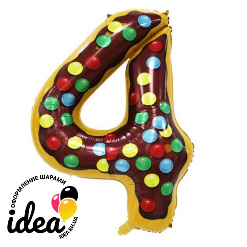 Шар «4» с гелием  Candy number 102см