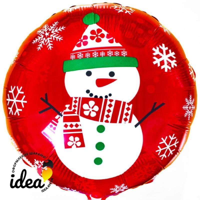 """Шар с гелием """"снеговик на красном"""" 45см"""