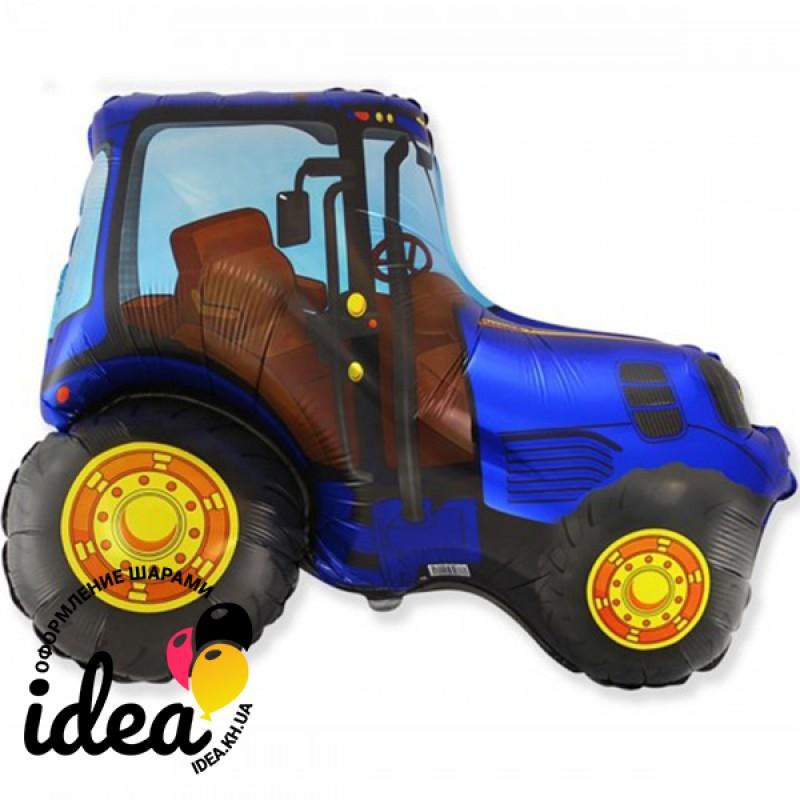 Шар с гелием Трактор синий 95см