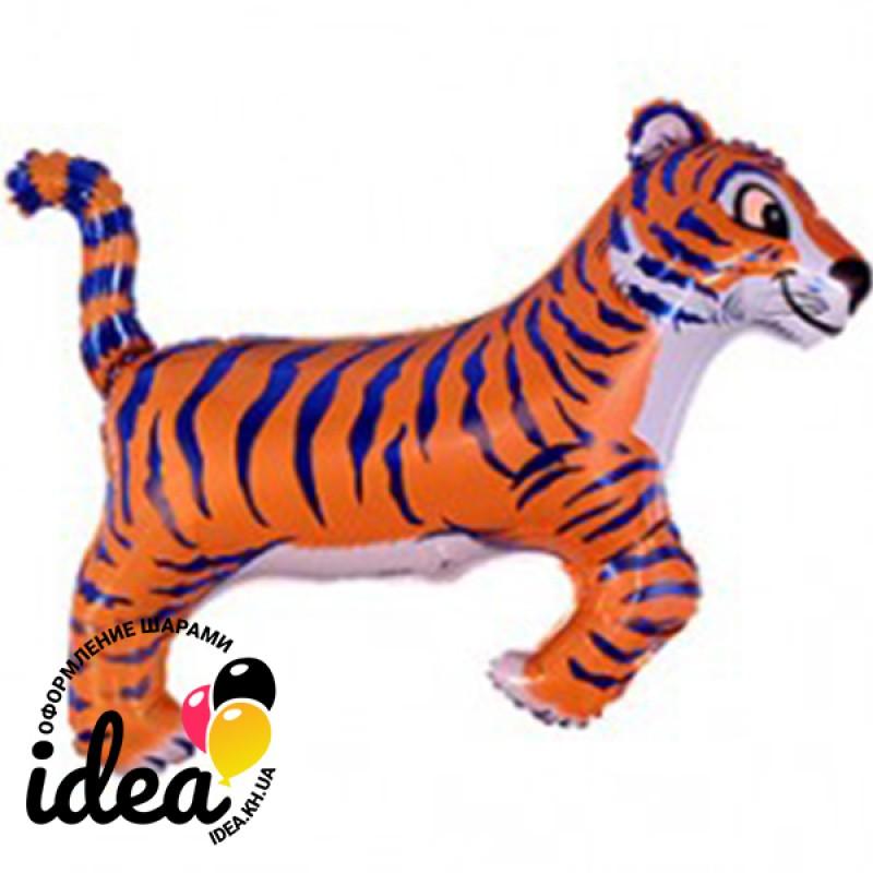 Шар с гелием Тигр синие  полоски 77см