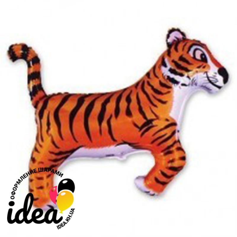 Шар с гелием Тигр черные полоски 77см