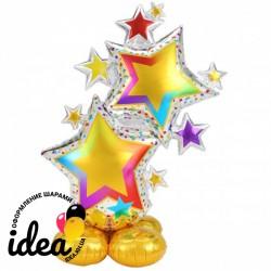 Стоячий шар Звезды разноцветные (под воздух)