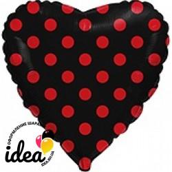 Шар с гелием сердце фольгированное черное полька 45см
