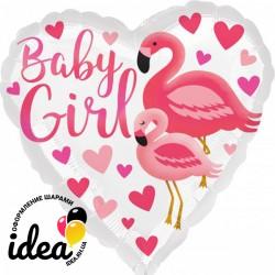 Шар с гелием Фламинго для девочки 45  см