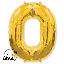 Шар «0» с гелием золото100см