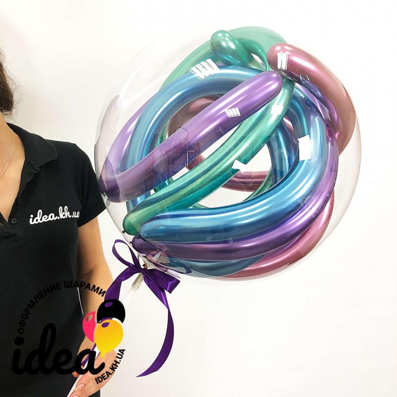Шар с воздухом баблс + хром (шарик на палочке)