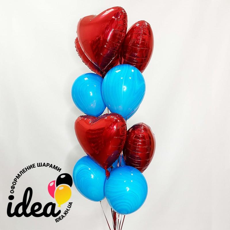 Букет гелиевых шаров сердца и синий агат