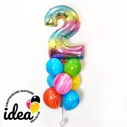 Связка шаров на День Рождение в ярких красках