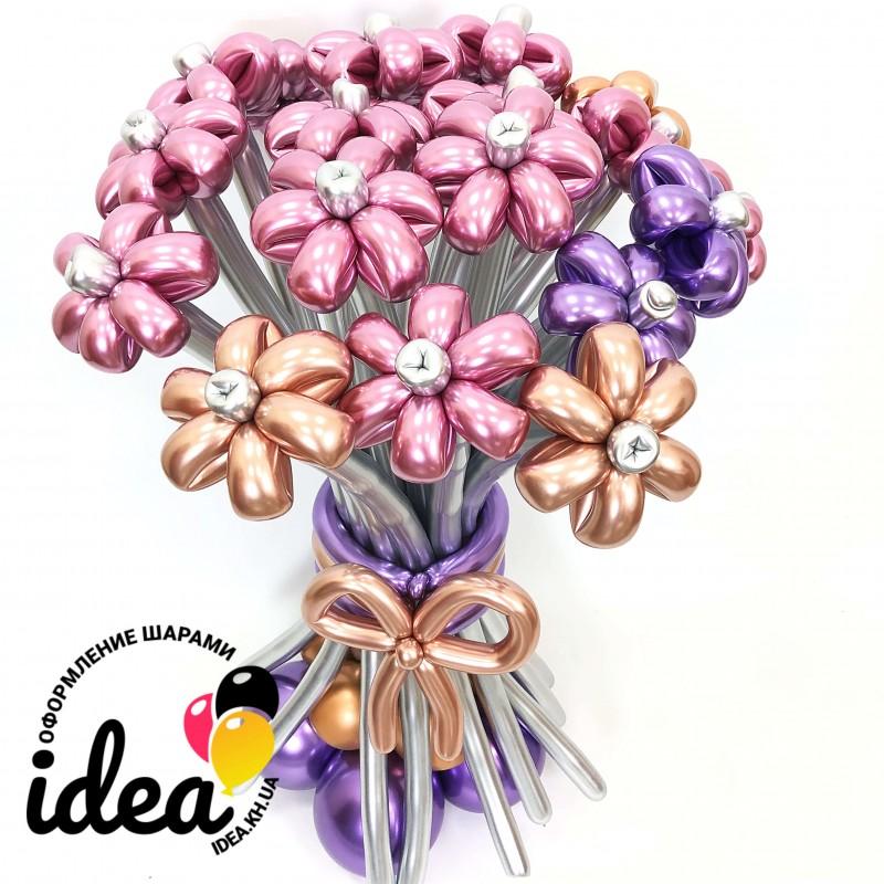 Букет цветов из шариков Великолепный хром