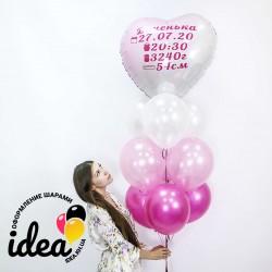 Букет гелиевых шаров с метрикой (девочка)