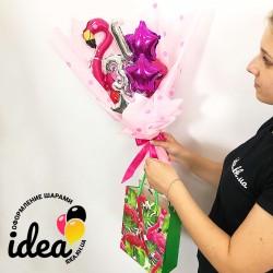 Супер мини Крафтовый букет шаров Фламинго с цифрами