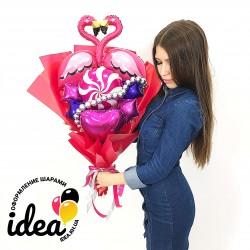 Крафт букет Влюбленные фламинго