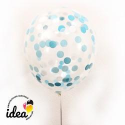 Шар с гелием, с конфетти (белые и голубые кружочки)