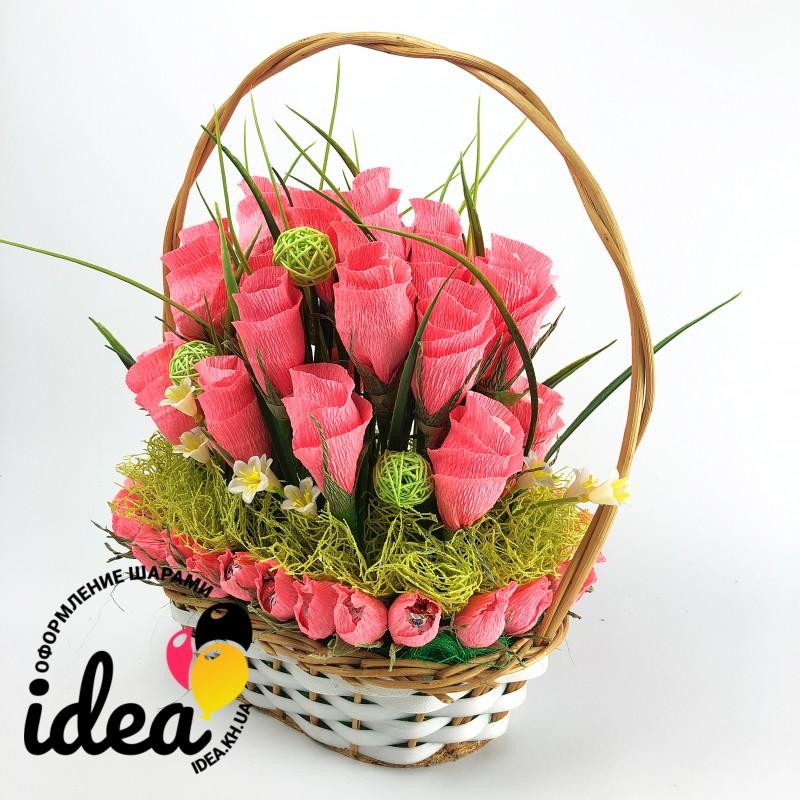 Корзина «Розовые розы»