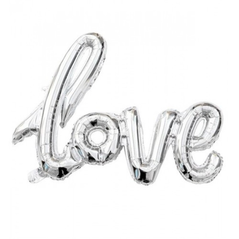 Гирлянда надувная Love серебряная 72см воздух