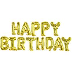 Гирлянда надутая воздухом Happy birthday золотая