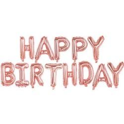 Гирлянда надутая воздухом Happy birthday розовое-золото