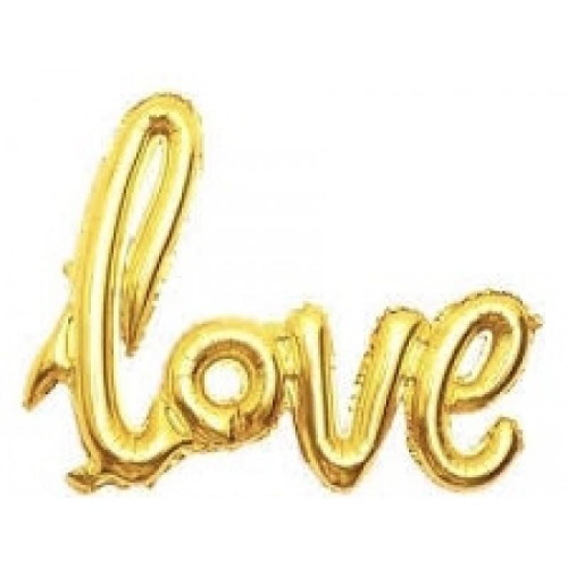 Гирлянда надувная Love золотая 72см воздух