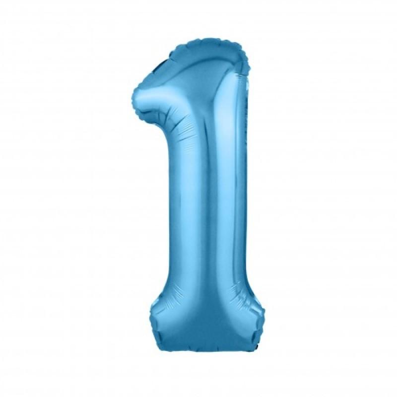 Шар «1» с гелием голубой 100см