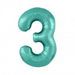 Шар «3» с гелием зеленый 100см