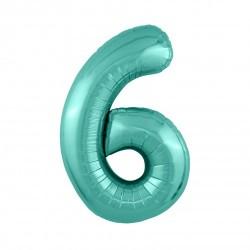 Шар «6» с гелием зеленый 100см